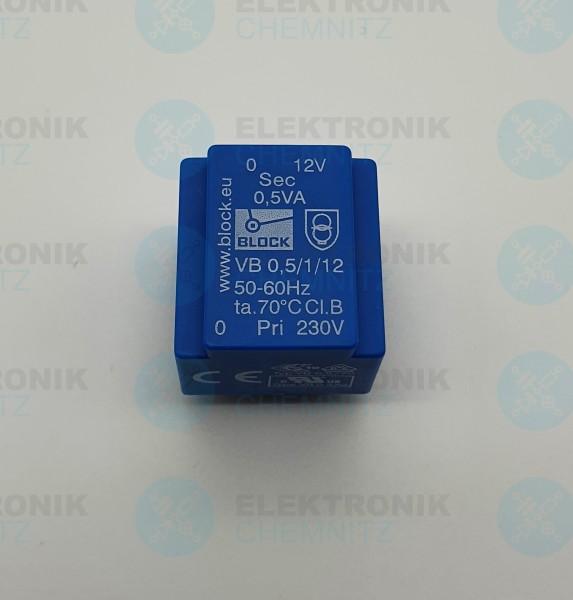 Printtrafo BLOCK VB 0,5/1/12 230V 1x12V 0,5VA