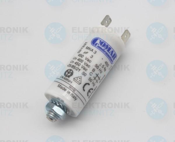 Betriebskondensator 3µF +- 5% mit Flachstecker