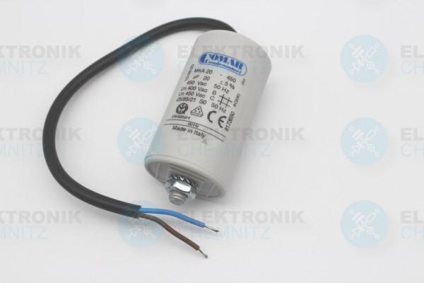 Betriebskondensator 20µF +- 5% - mit Kabel