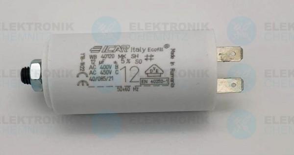 Betriebskondensator 12µF +-5% mit Flachstecker