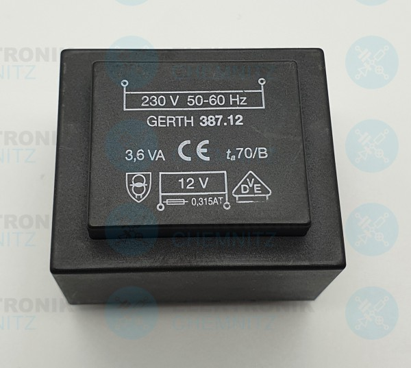 Printtrafo GERTH 387.12 230V 1x12V 3,6VA