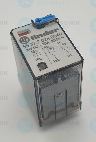 Finder 55.32.9.024.0040 Industrierelais, 2x UM, 250V/10A, 24V