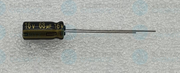 Elektrolytkondensator radial 68µF 16V 105°C RM 1,7 normale Bauform DM 5mm