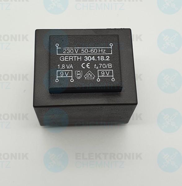 Printtrafo GERTH 304.18.2 230V 2x9V 1,8VA