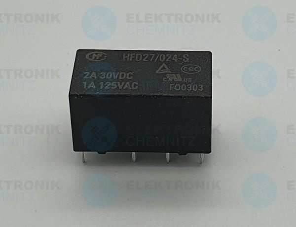 Hongfa HFD27/024-S Signal-Relais Subminiatur, 24 V DC, 2 A, 2 Wechsler