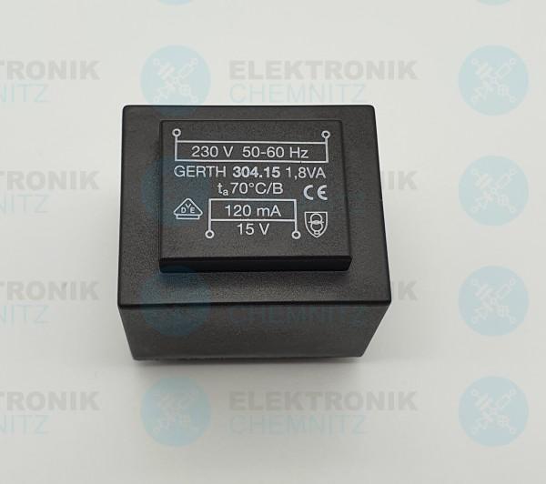 Printtrafo GERTH 304.15 230V 1x15V 1,8VA