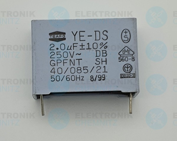 Folienkondensator YE-DS 2,0µF 10% 250VAC
