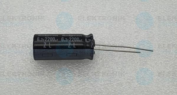 Elektrolytkondensator radial 2200µF 6,3V 105°C RM 5 lange Bauform