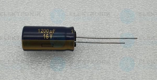 Elektrolytkondensator radial 1200µF 16V 105°C RM 5 normale Bauform DM 10mm