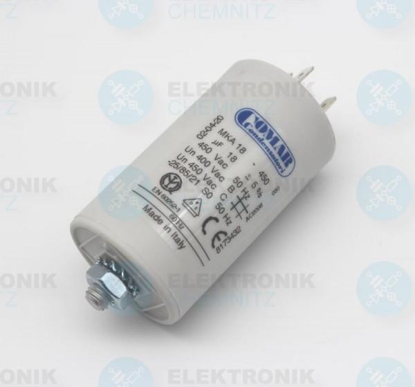 Betriebskondensator 18µF +- 5% mit Flachstecker