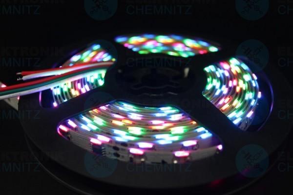 LED Streifen 335-60-WS2811 digital sideview DC12V RGB 20px/m IP20 PCB: weiß 10mm