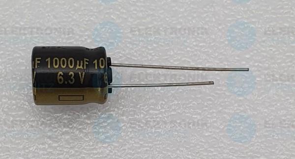 Elektrolytkondensator radial 1000µF 6,3V 105°C RM 5 normale Bauform DM 10mm
