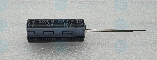 Elektrolytkondensator radial 2200µF 10V 105°C RM 5 lange Bauform DM 10mm
