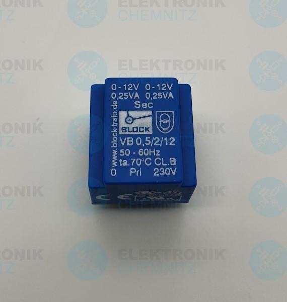 Printtrafo BLOCK VB 0,5/2/12 230V 2x12V 0,5VA