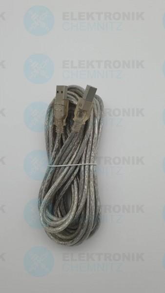 USB 2.0 Kabel transparent 5,0m A Stecker auf B Stecker