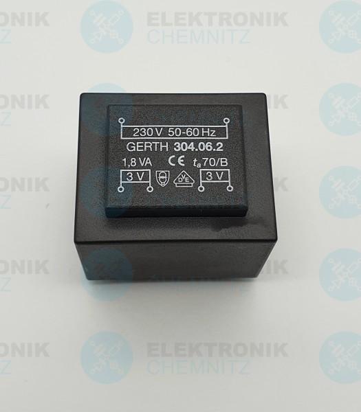 Printtrafo GERTH 304.06.2 230V 2x3V 1,8VA