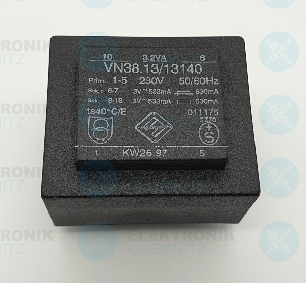 Printtrafo Marschner VN38.13/13140 230V 2x3V 630mA