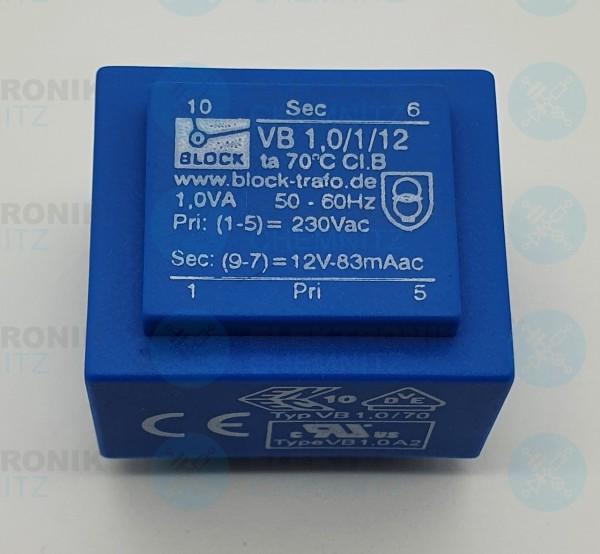 Printtrafo BLOCK VB 1,0/1/12 230V 1x12V 1VA