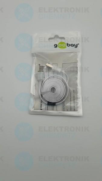 USB 2.0 Flachkabel weiß 1m, A Stecker auf Micro B Stecker
