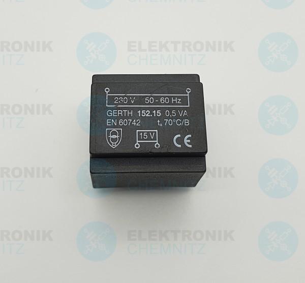 Printtrafo GERTH 152.15 230V 1x15V 0,5VA