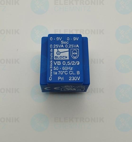 Printtrafo BLOCK VB 0,5/2/9 230V 2x9V 0,5VA