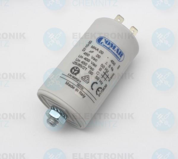 Betriebskondensator 20µF +-5% mit Flachstecker