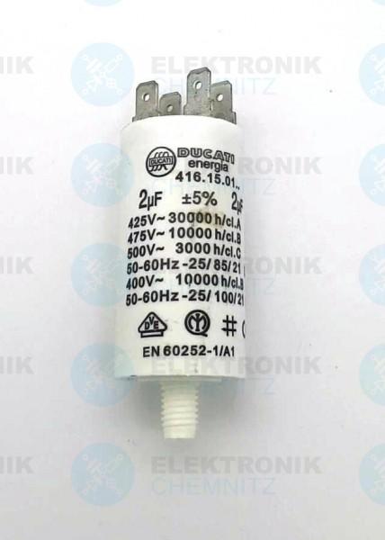 Betriebskondensator 2µF +-5% mit Flachstecker