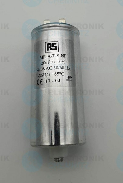 Betriebskondensator 20µF +-10% mit Flachstecker
