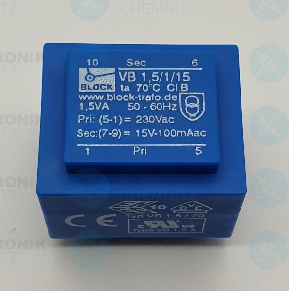 Printtrafo BLOCK VB 1,5/1/15 230V 1x15V 1,5VA