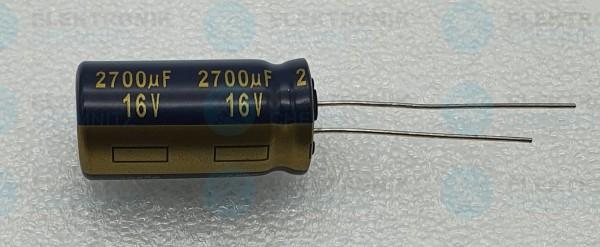 Elektrolytkondensator radial 2700µF 16V 105°C RM 5 normale Bauform DM 13mm