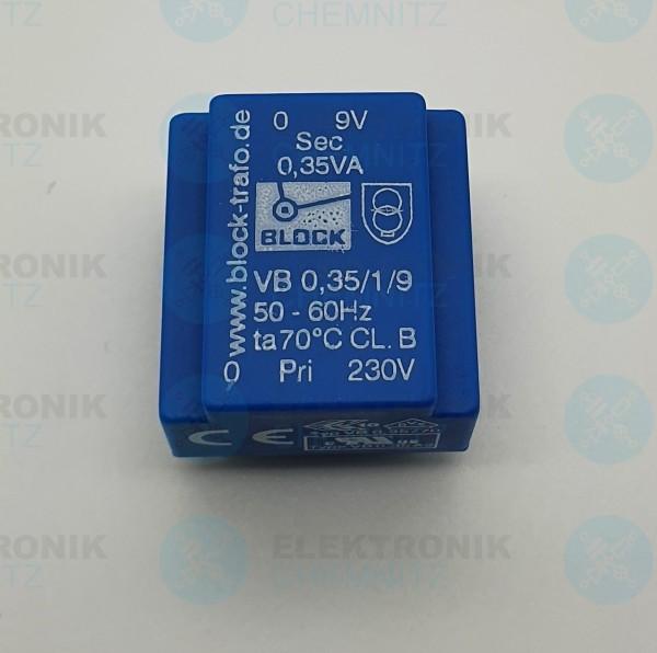 Printtrafo BLOCK VB 0,35/1/9 230V 1x9V 0,35VA