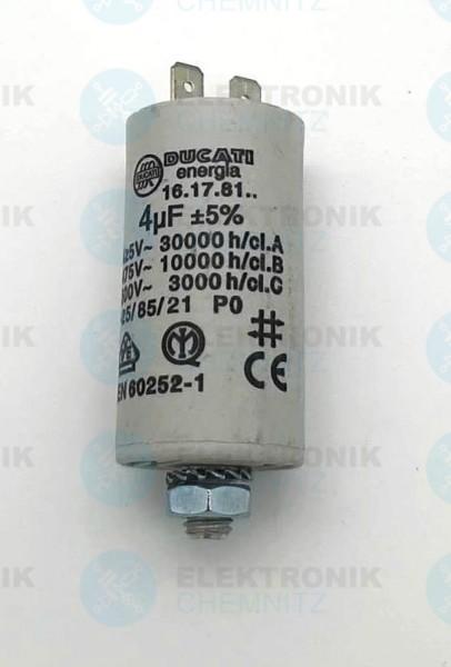 Betriebskondensator 4µF +-5% mit Flachstecker