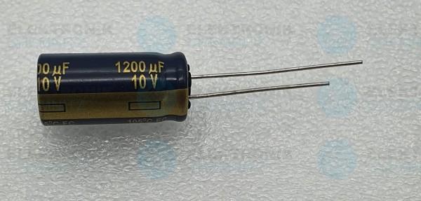 Elektrolytkondensator radial 1200µF 10V 105°C RM 5 normale Bauform DM 10mm