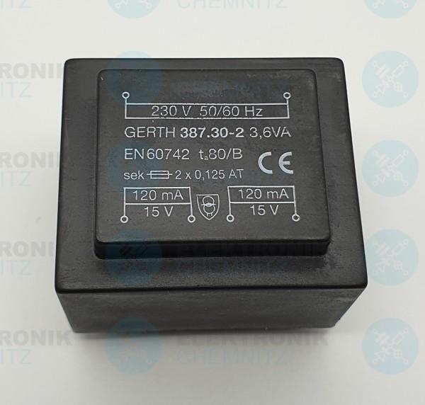 Printtrafo GERTH 387.30.2 230V 2x15V 3,6VA
