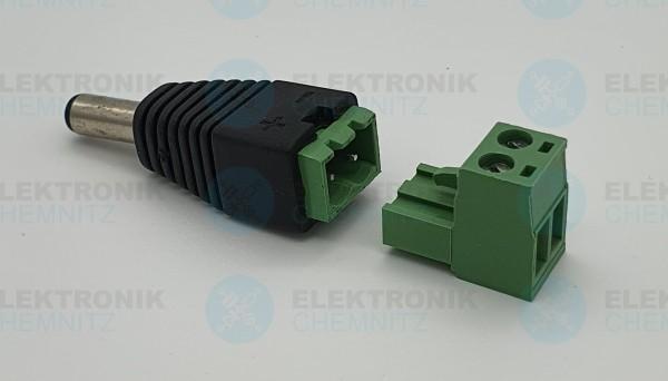 DC Power Anschlussmodul Terminal grün steckbar 5,5x2,1 Stecker