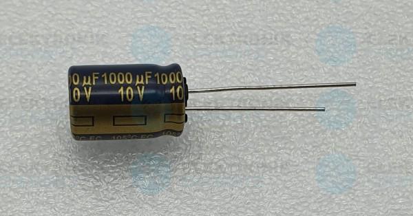 Elektrolytkondensator radial 1000µF 10V 105°C RM 5 normale Bauform DM 10mm