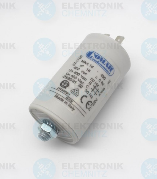 Betriebskondensator 16µF +- 5% mit Flachstecker
