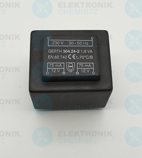 Printtrafo GERTH 304.24.2 230V 2x12V 1,8VA