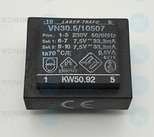 Printtrafo Marschner VN30.5/10507 230V 2x7,5V 33,3mA