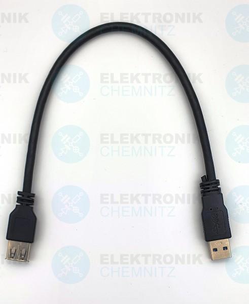 USB 3.0 Kabel schwarz 0,3m A Stecker auf A Kupplung Verlängerung