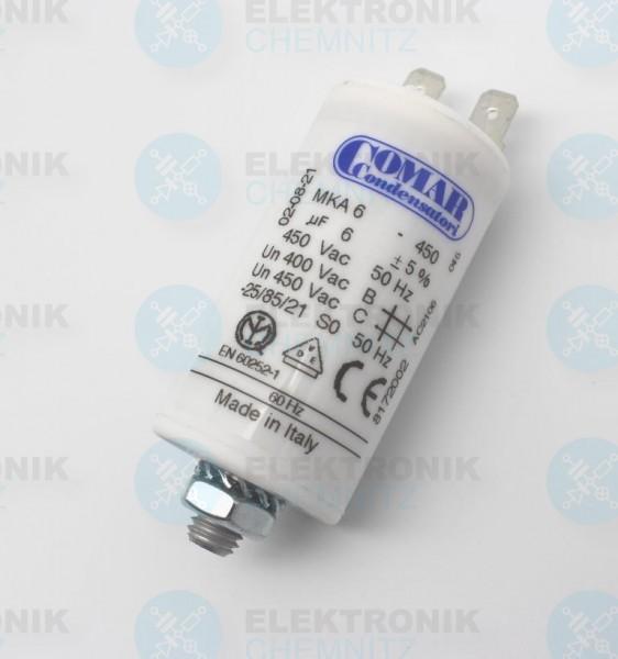 Betriebskondensator 6µF +- 5% mit Flachstecker